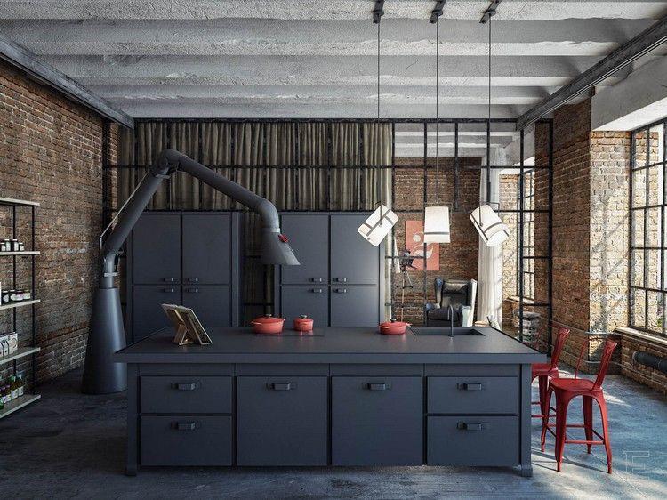 cuisine industrielle contemporaine en 50 photos formidables cuisines industrielles hotte. Black Bedroom Furniture Sets. Home Design Ideas