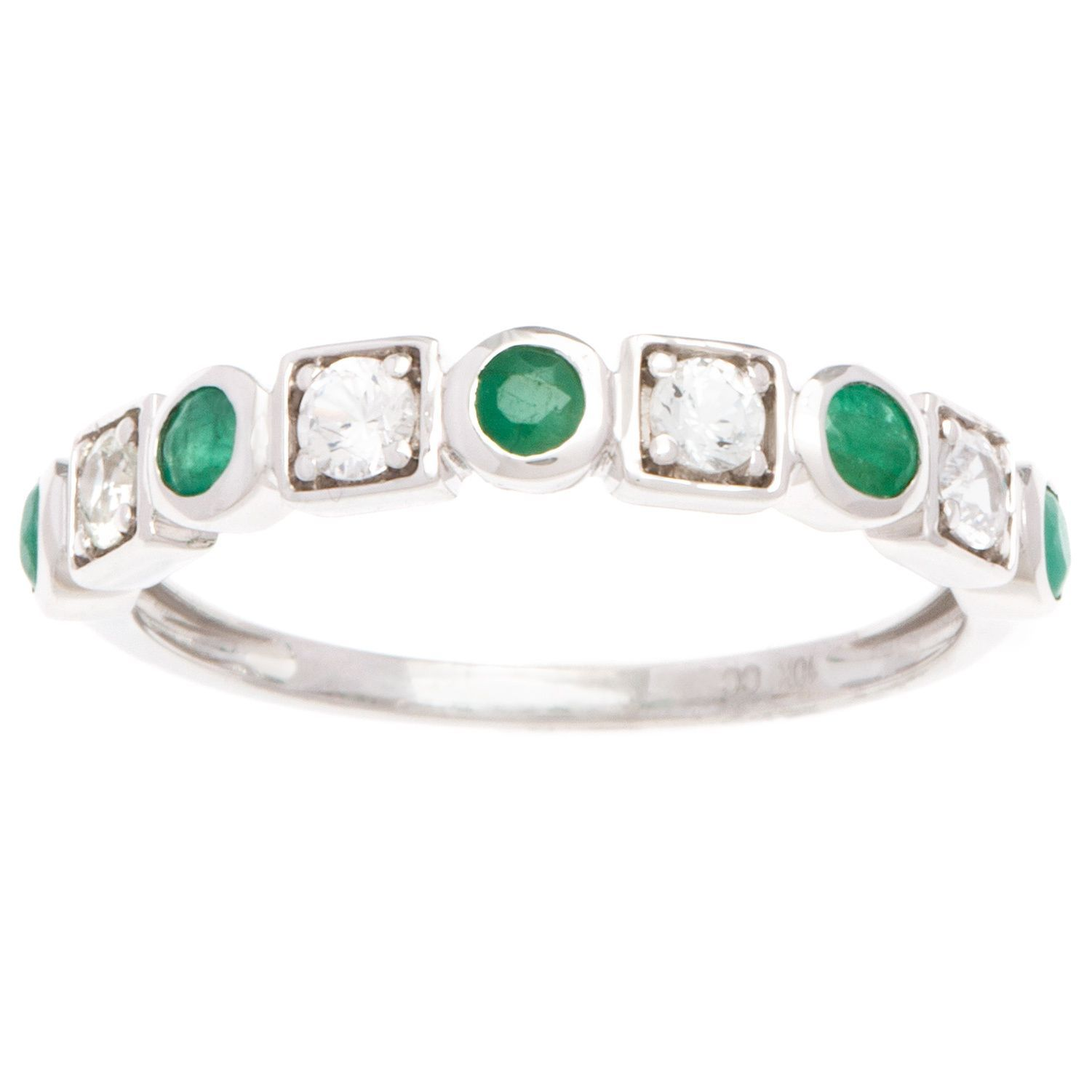 Viducci k gold emerald and white sapphire vintagestyle band