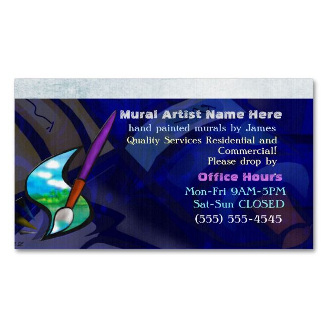 Mural Artist Graphic Design Residential Commercial Magnetic Business Card Zazzle Com Magnetic Business Cards Painter Business Card Artist Business Cards