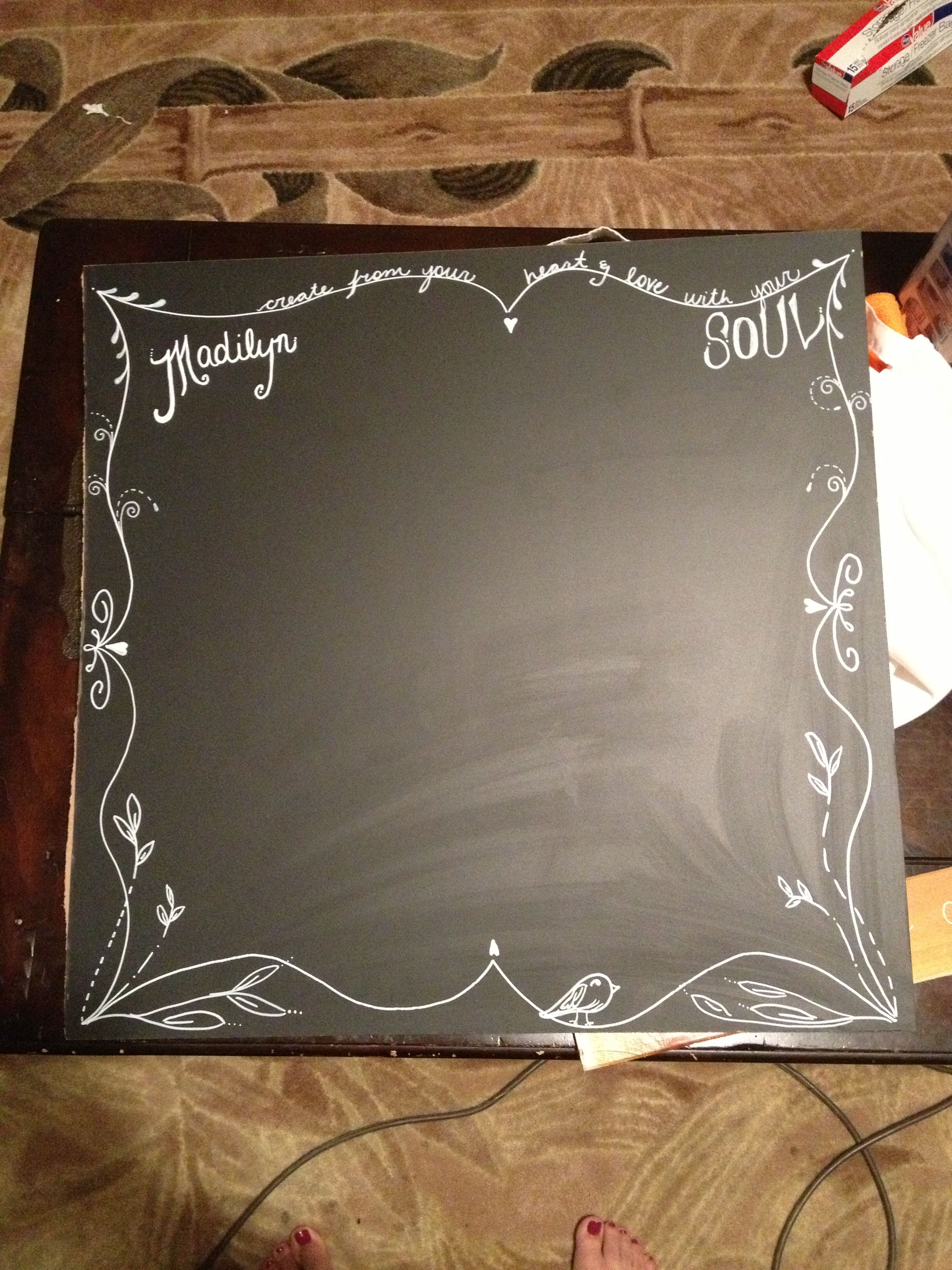 Chalkboard From Home Depot And Drew On It With White Paint