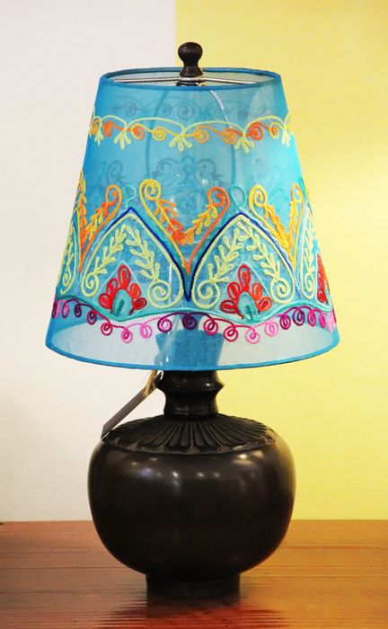 One of our new embroidered lampshades.