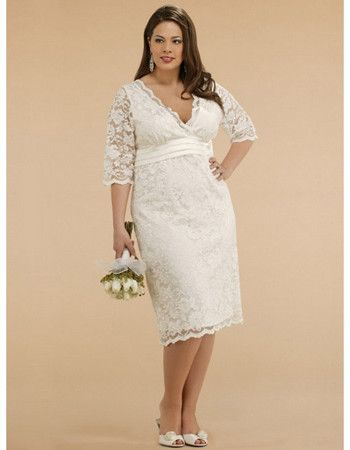 Empire V-Neck Tea Length Lace Satin Plus Size Wedding Dress/ Half ...