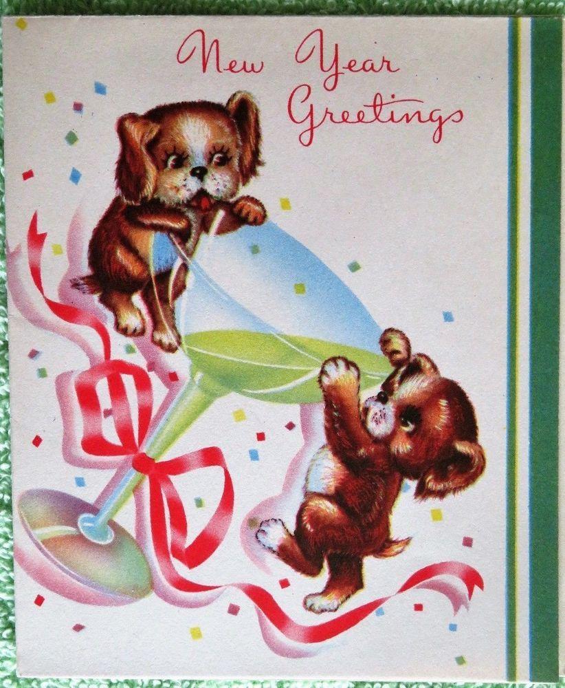 Vintage Happy New Year Card Unused Cute Puppy Dogs Drinking Champagne Vintage Happy New Year Happy New Year Greetings Happy New Year Cards