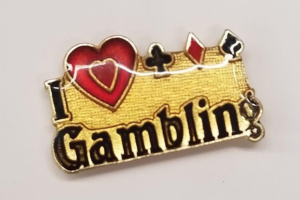 I Love Gambling Lapel Hat Pin 462 Hat Pins Lapel Vintage Hipster