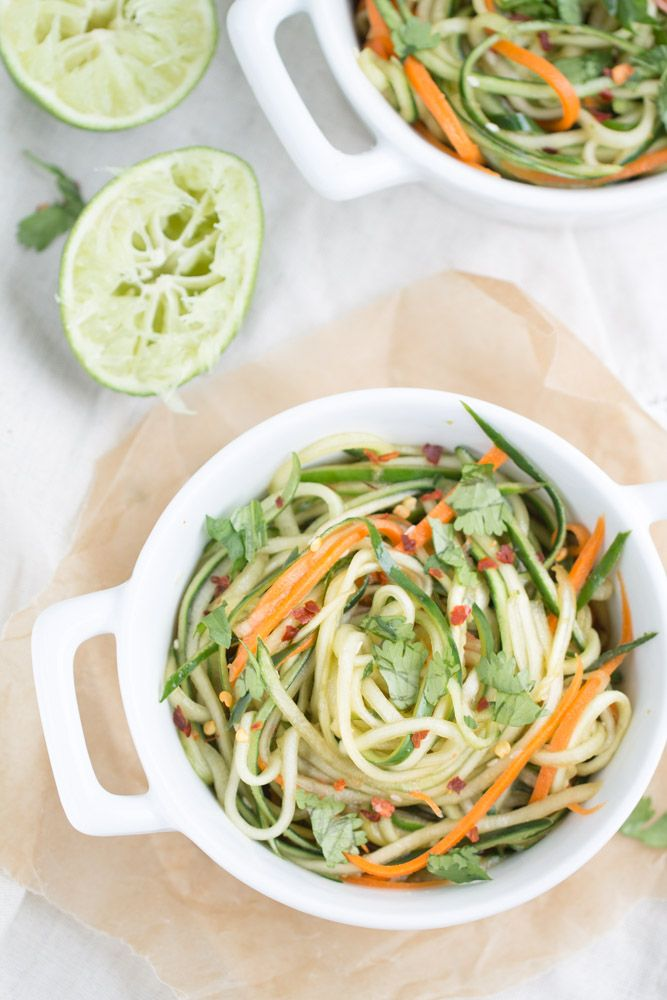 Cucumber Noodles + Spicy Sesame Soy Dressing. Julianne cut cucumbers and carrots are tossed with a homemade spicy sesame soy dressing in this low carb dish.