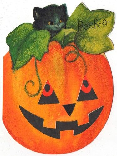 Vintage Greeting Card Halloween Jack O Lantern Pumpkin Black Cat