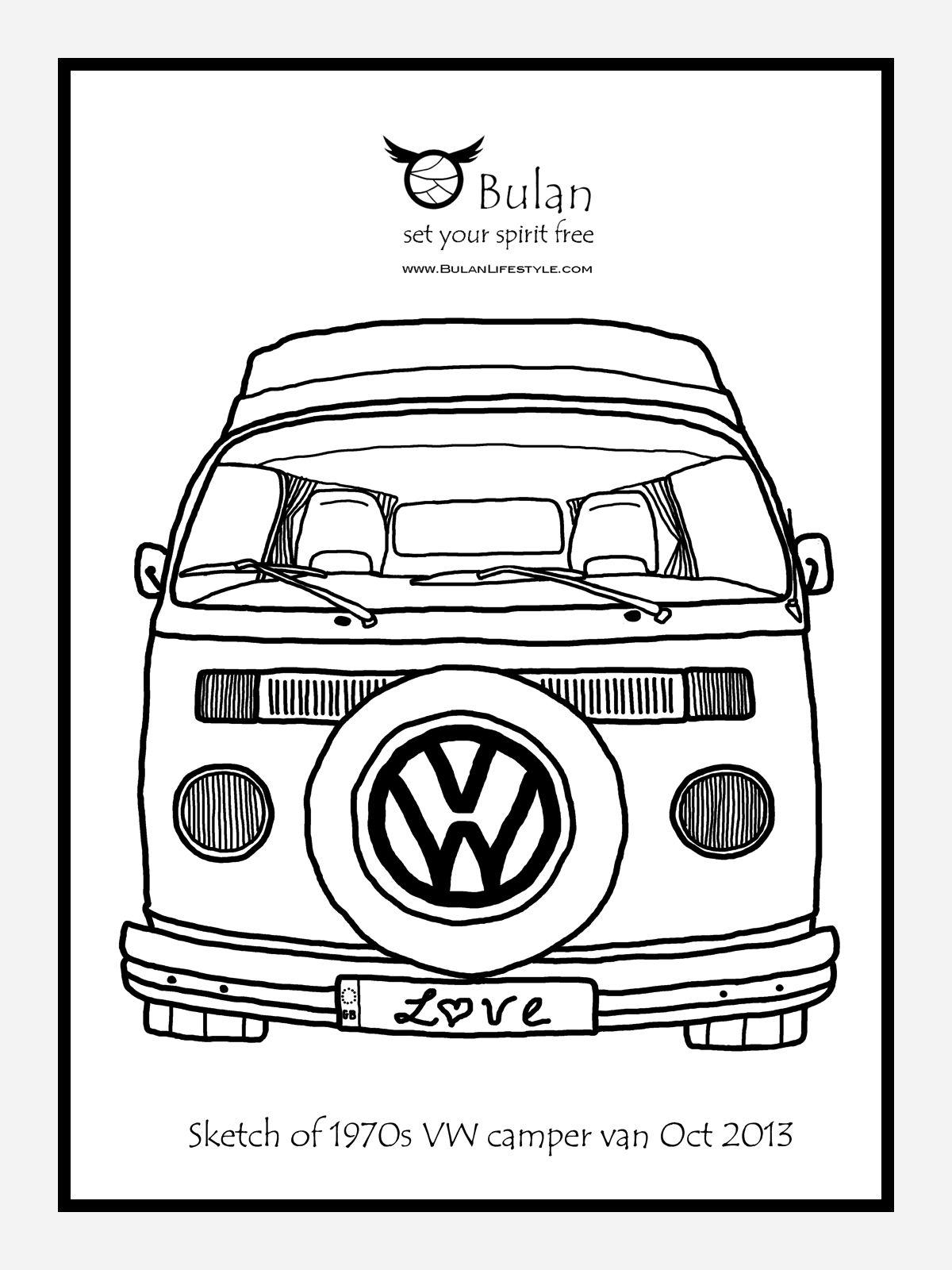 Vw Campervan Drawing Volkswagen Bus Busje Busjes