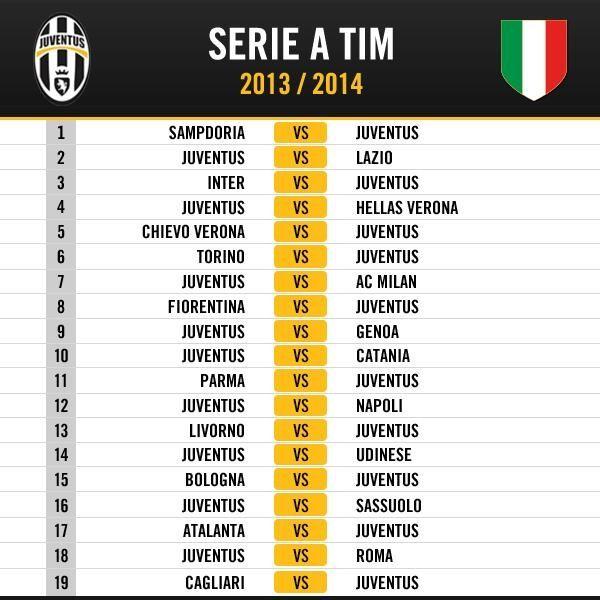 Calendario Serie Juventus.Campionato Serie A 2013 2014 Calendario Juventus Juventus