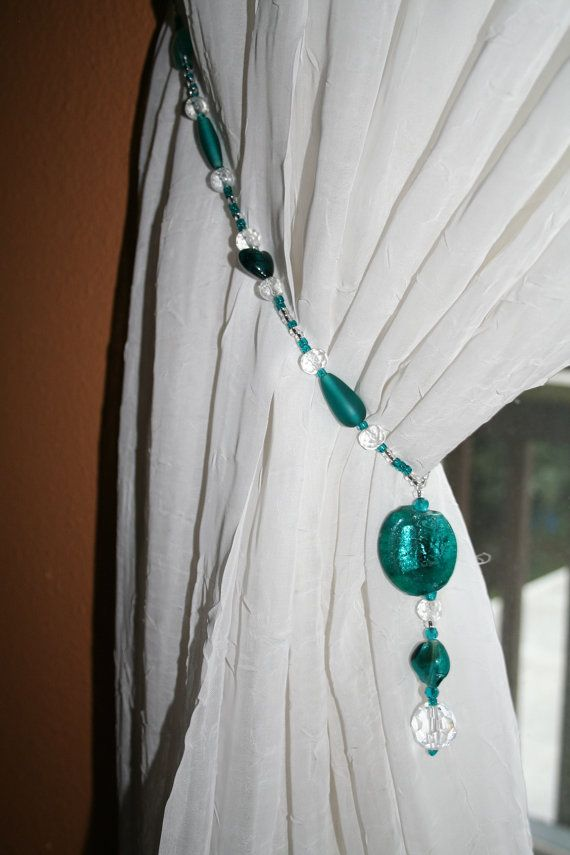 Curtain Tie backs glass beaded tiebacks  FREE SHIPPING on Tiebacks Teal glass beads and cyrstals make up these beautiful drape tiebacks on Etsy, $33.00