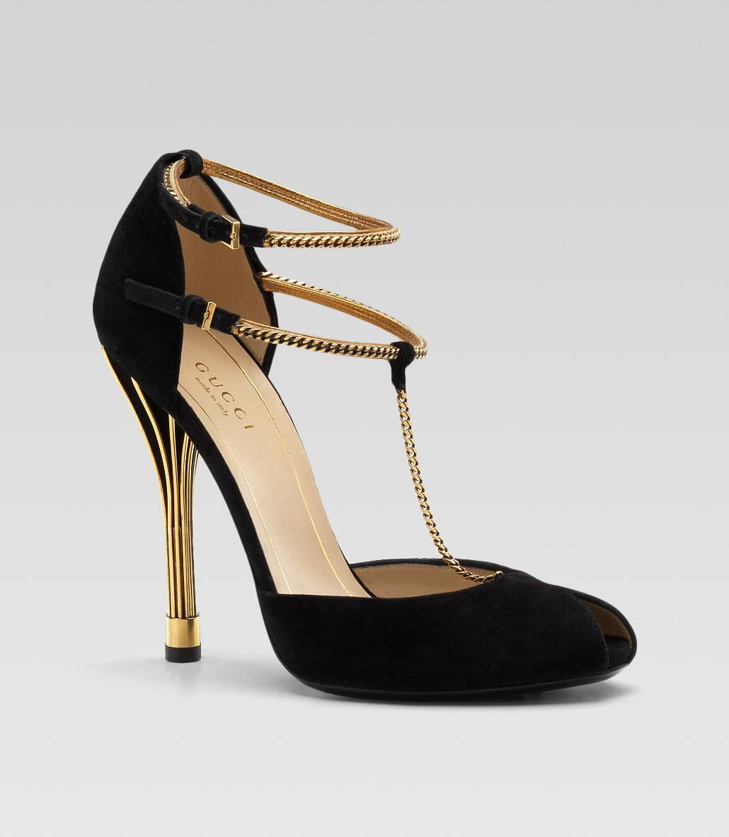 gucci black suede ophelie peep toe chain pumps | shoes | pinterest