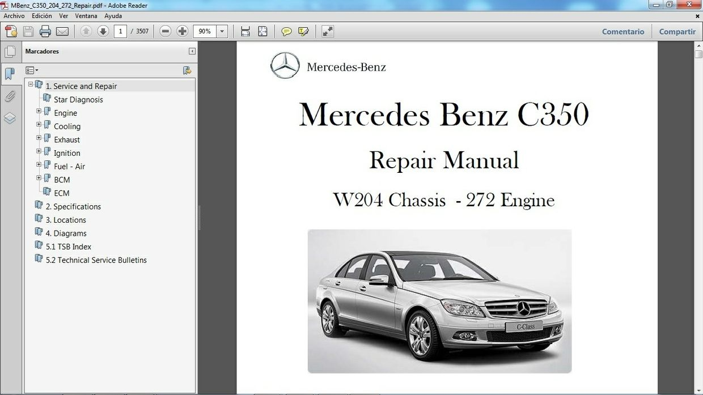 manual de reparaci n de mercedes benz c350 chassis w204 motor 272 gasolina v6 3 5 lts  [ 1240 x 697 Pixel ]