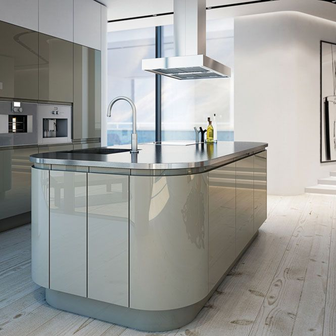 Light grey pavillion high gloss handleless kitchen this for Light grey modern kitchen