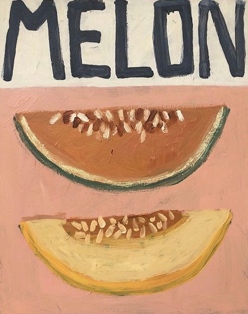 Photo of Primitive art melon painting