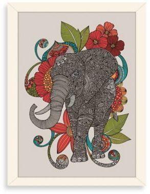 Americanflat Valentina Ramos Ruby Digital Print Wall Art With White Frame Elephant Art Elephant Print Art Elephant Canvas