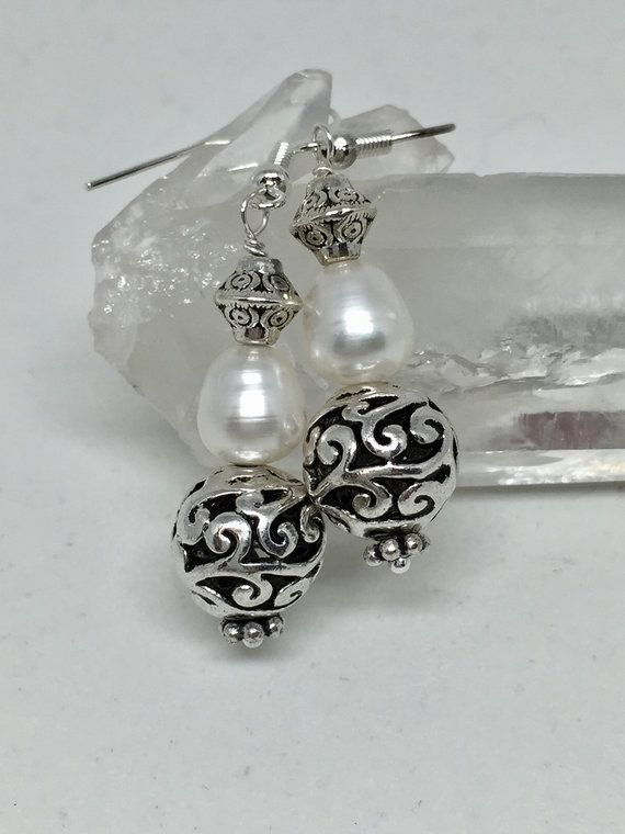 Photo of White teardrop pearl silver filigree earrings, freshwater pearl June birthstone