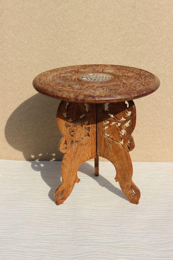 Vintage Hand Carved Wood Indian Folding, Hand Carved Wood Furniture India