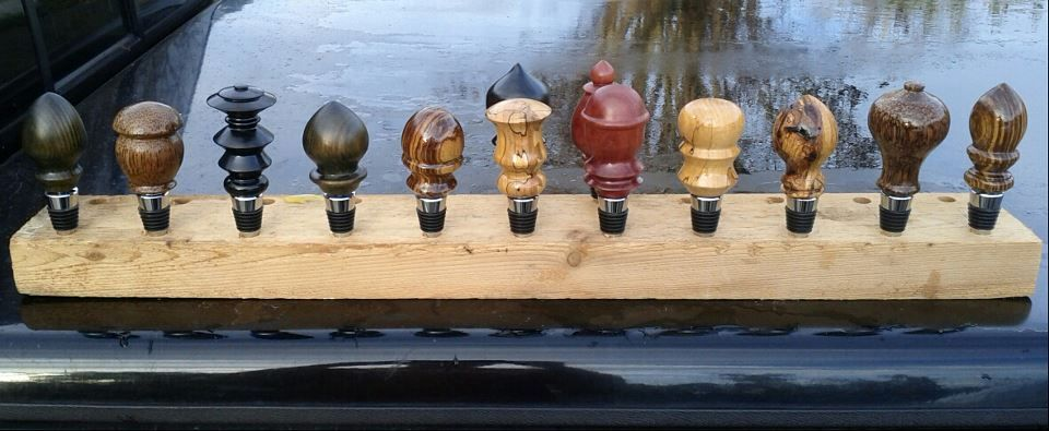 Handmade wine bottle stoppers of various types of wood