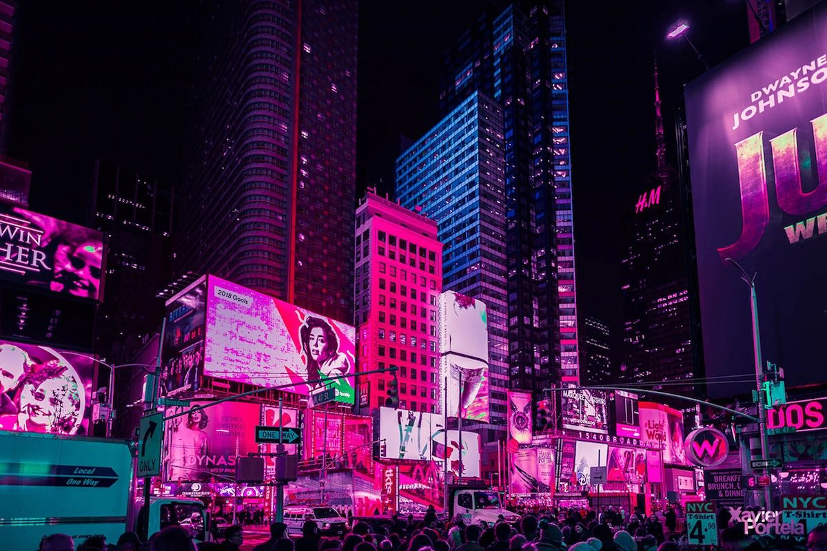 Nighttime Photos Capture Vibrant Pink Glow of Times Square