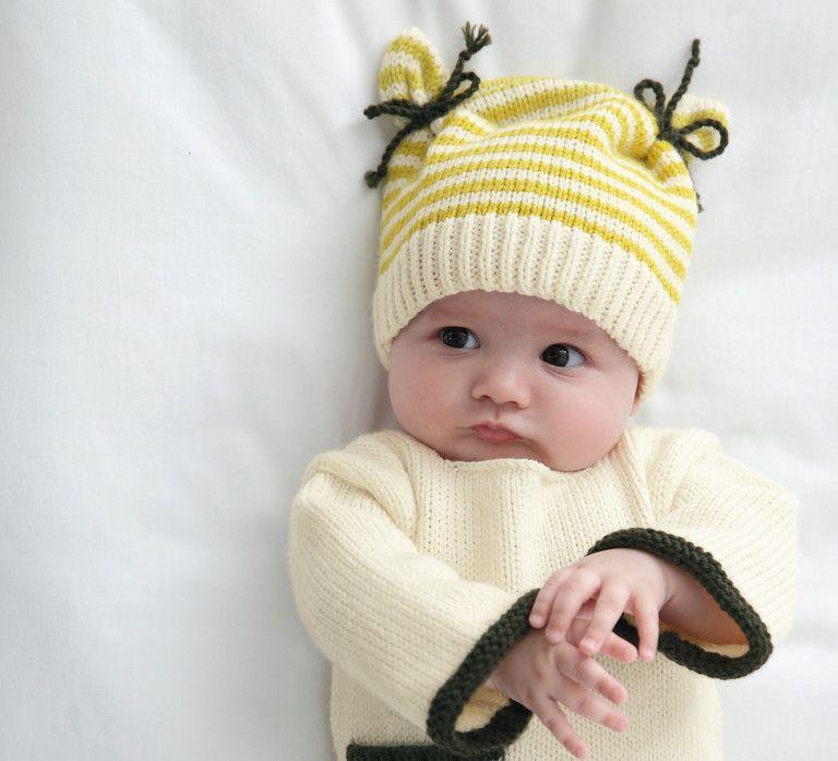 Modèle bonnet bicolore Layette - Modèles Layette - Phildar ...