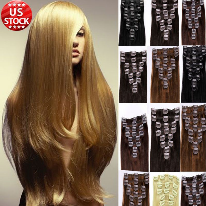 Clip In Real Remy Human Hair Extensions Full Head Long Straight