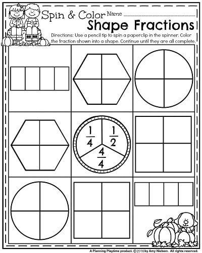 October First Grade Worksheets Planning Playtime First Grade Worksheets Fractions Worksheets First Grade Math Worksheets