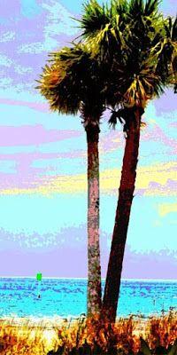 Gulf Coast, Florida, near Hudson Beach - an original digital image.Palms original digital image ... Gulf Coast, Florida, near Hudson Beach. in a traditional-modern style.