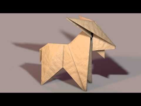 Small 3D model of an origami goat made with Cinema4d | silhouette