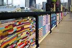 The Seventh Street or Andy Warhol Bridge is covered with knitting!!
