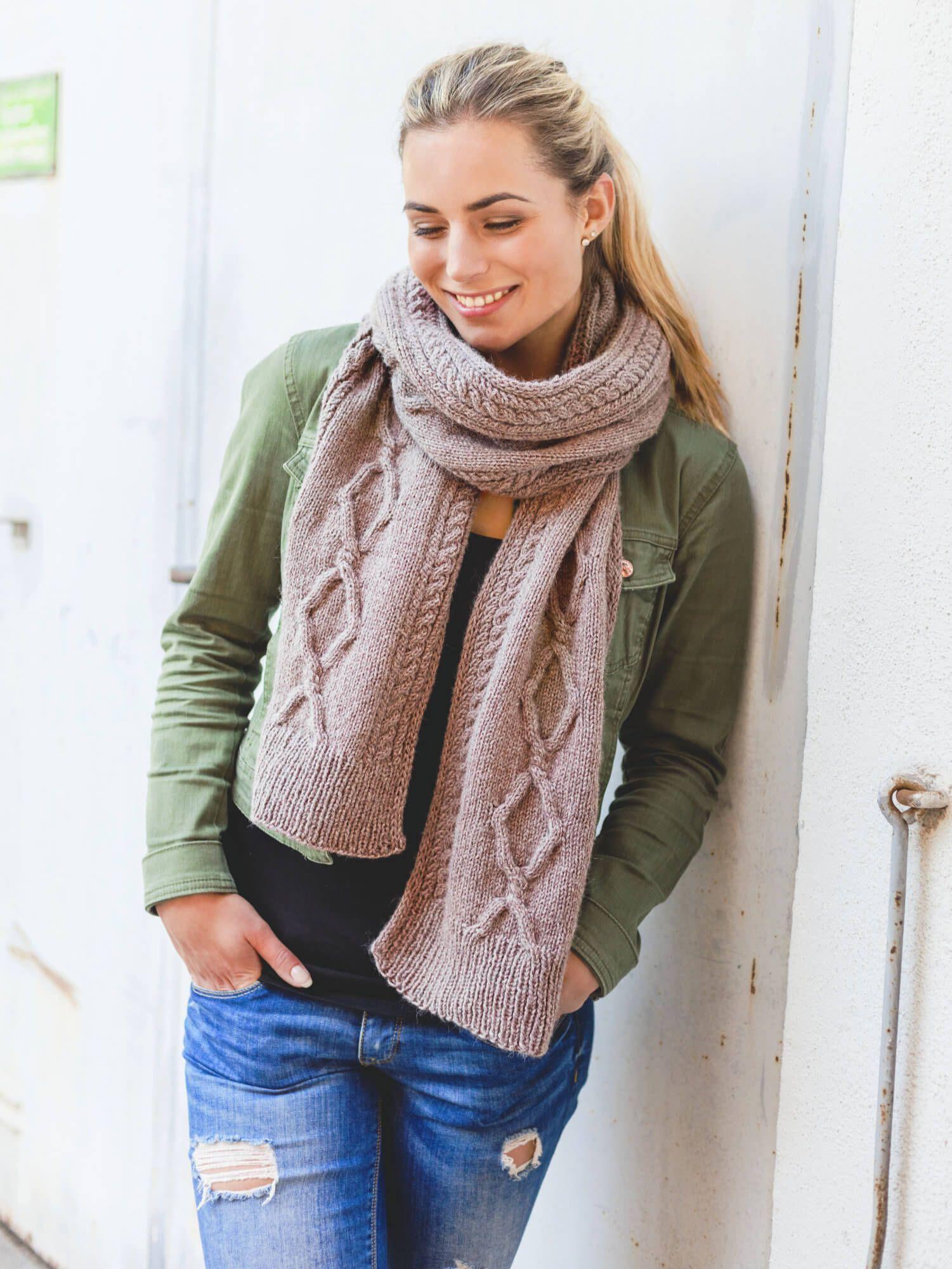 Zopf Schal Im Mustermix Stricken Pinterest Knitting Crochet