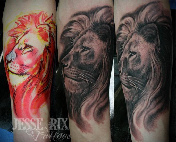 Paradise Tattoo Gathering : Tattoos : Jesse Rix : Free hand Lion