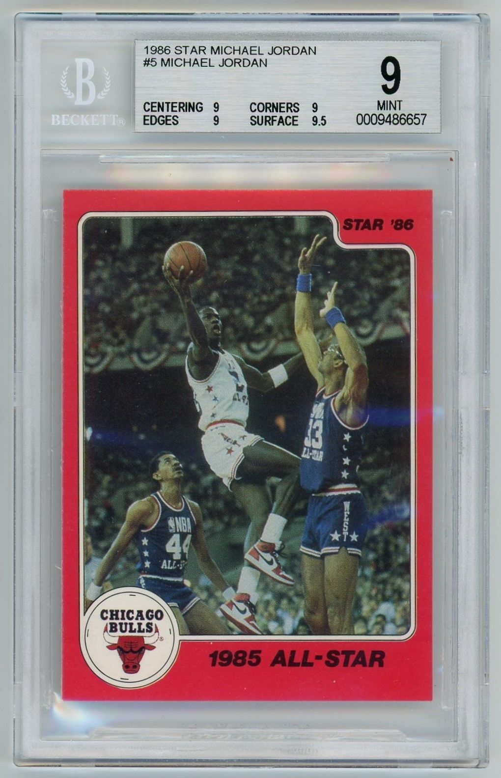 c31c2694e2a2  SportsCards Michael Jordan 1986 Star Basketball Card  5 1985 All-Star BGS  9 Mint  Collectible  Gifts