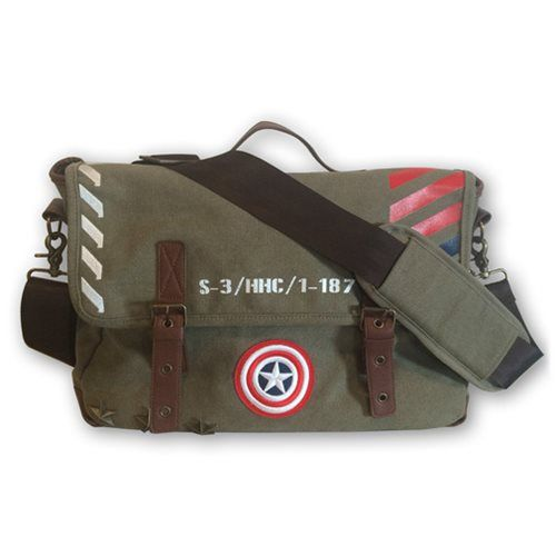 Marvel Captain America Vintage Military Army Messenger Bag - BB Designs - Captain America - Messenger Bags at Entertainment Earth