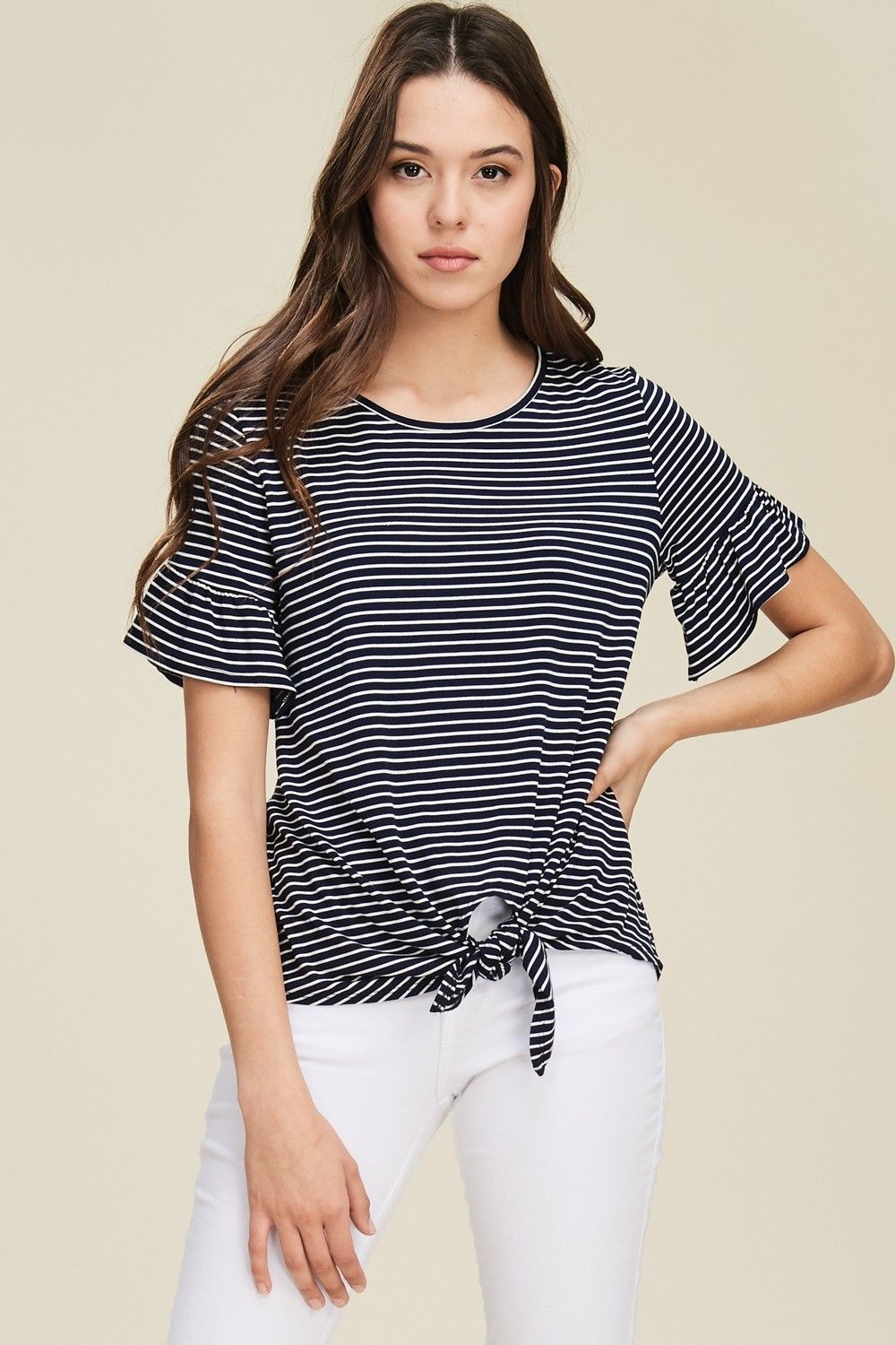 39d388243 Stripe Print Front Tie Top Style# T1243 Knit top featuring stripe print,  round neck, short bell sleeve, front tie, relaxed, soft and snug material.
