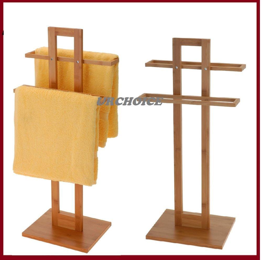 Bathroom bamboo wooden wood 2 tier towel rack rail holder stand free standing kaartjie idees for Wooden towel racks for bathrooms