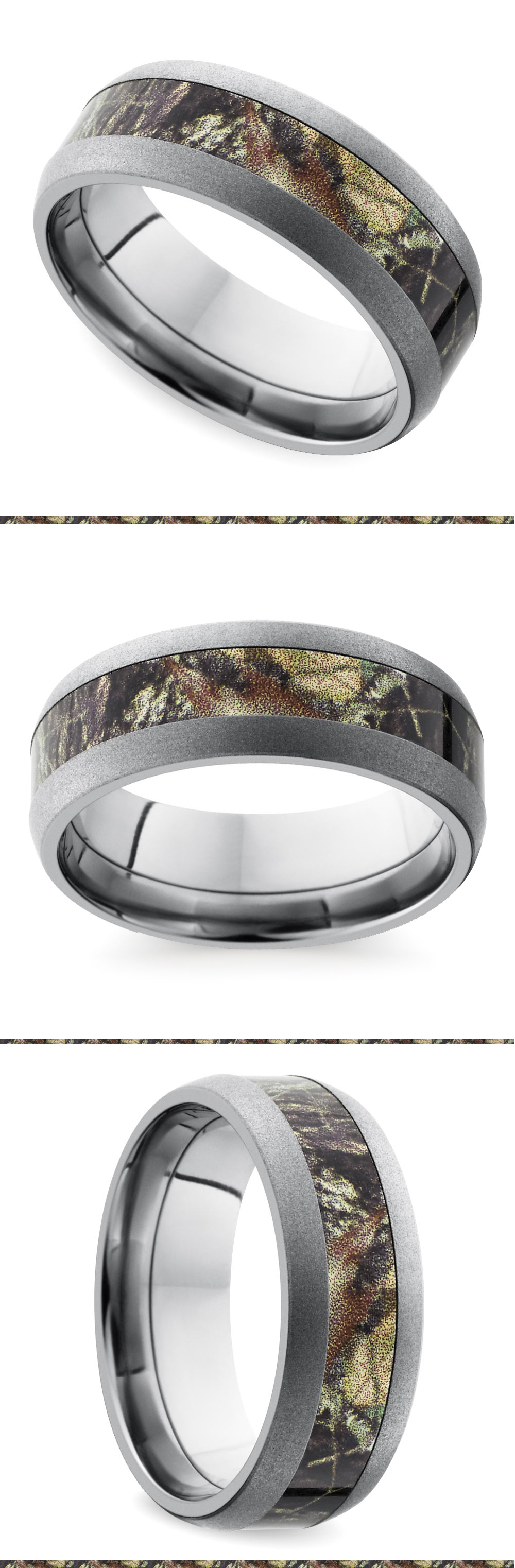 Beadblast Domed Camouflage Inlay Men's Wedding Ring in