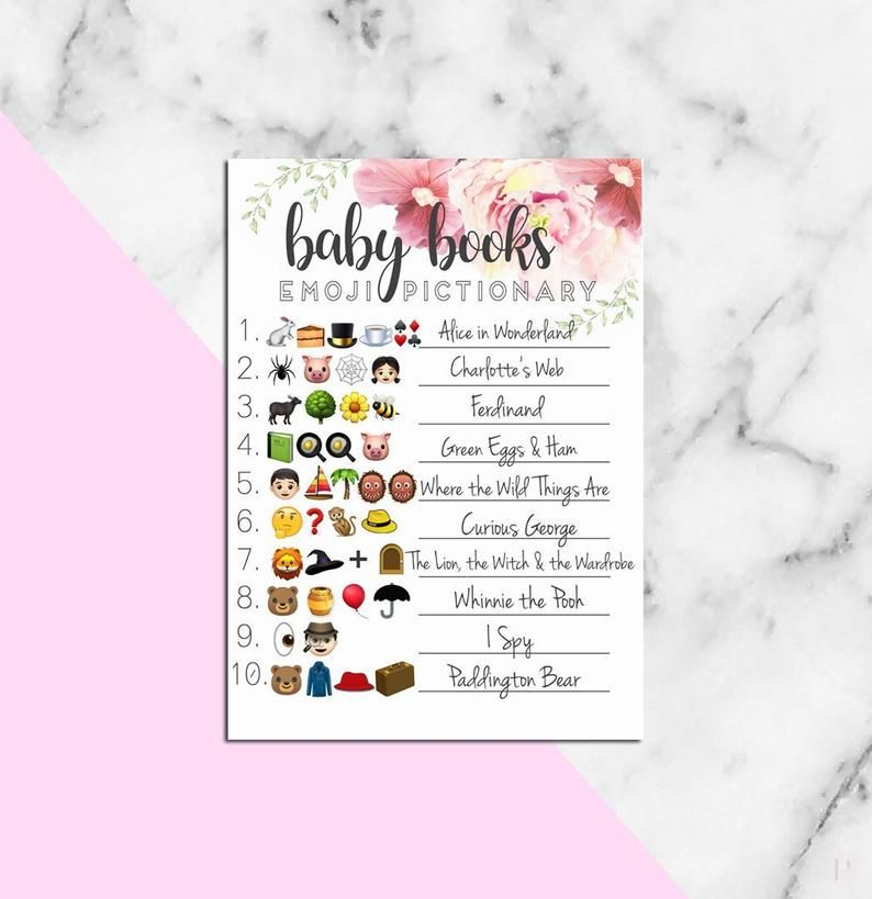 Baby Shower EMOJI PICTIONARY guessing game with answers ...