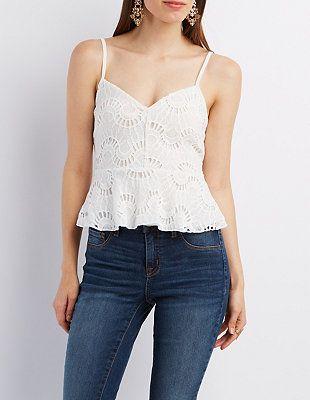 Crochet Lace Peplum Top: Charlotte Russe