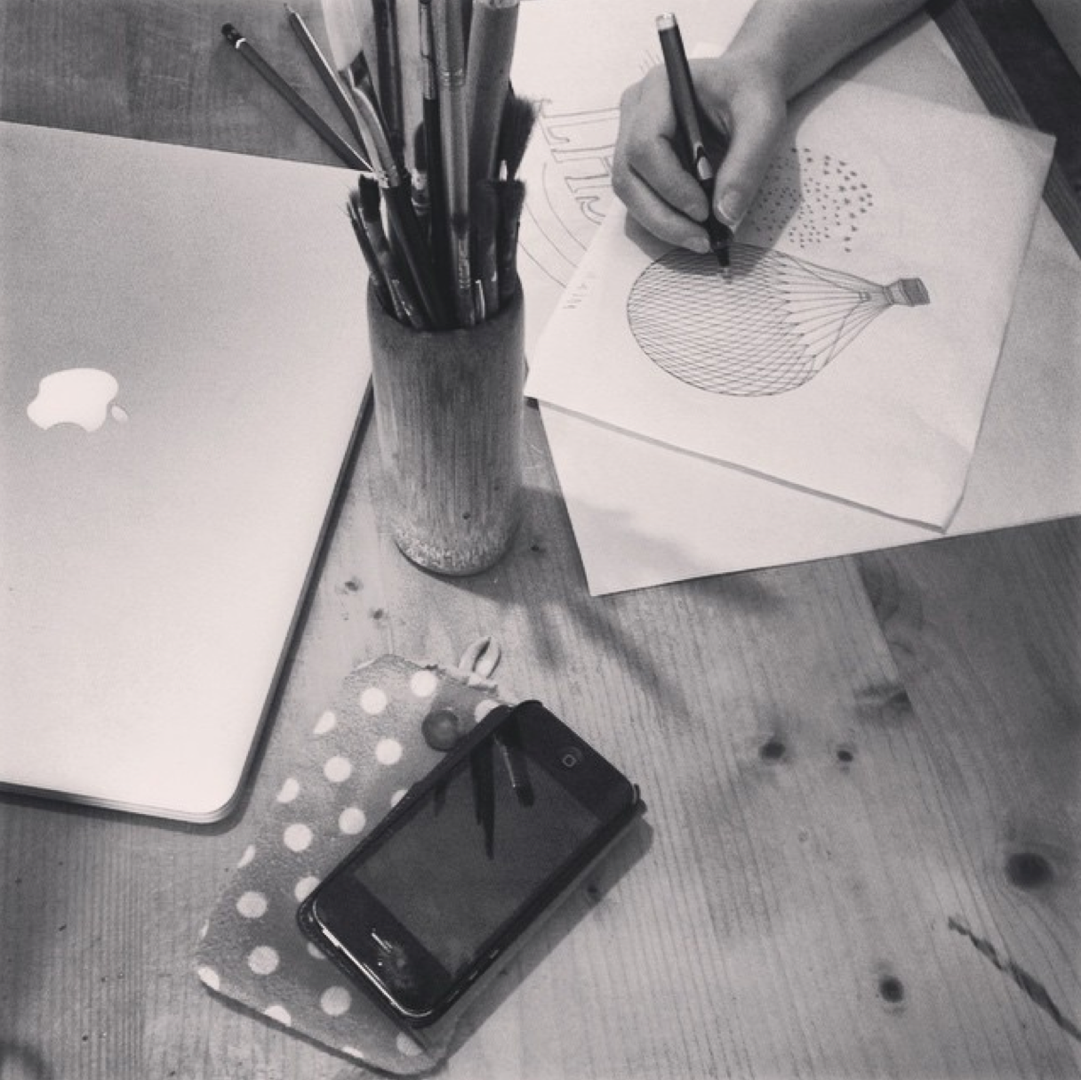 Working on latest illustration project at poppi design
