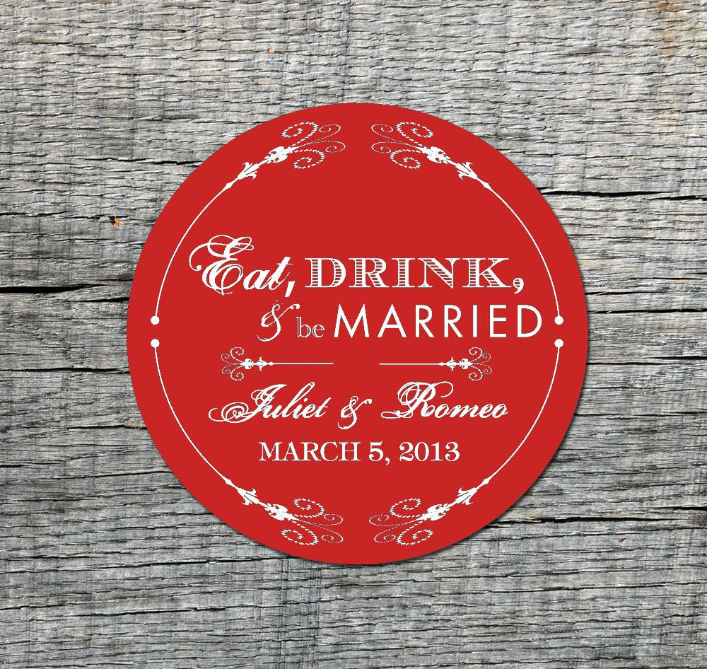 Eat, Drink, & be Married - Save the Date Circle Magnets - Custom ...