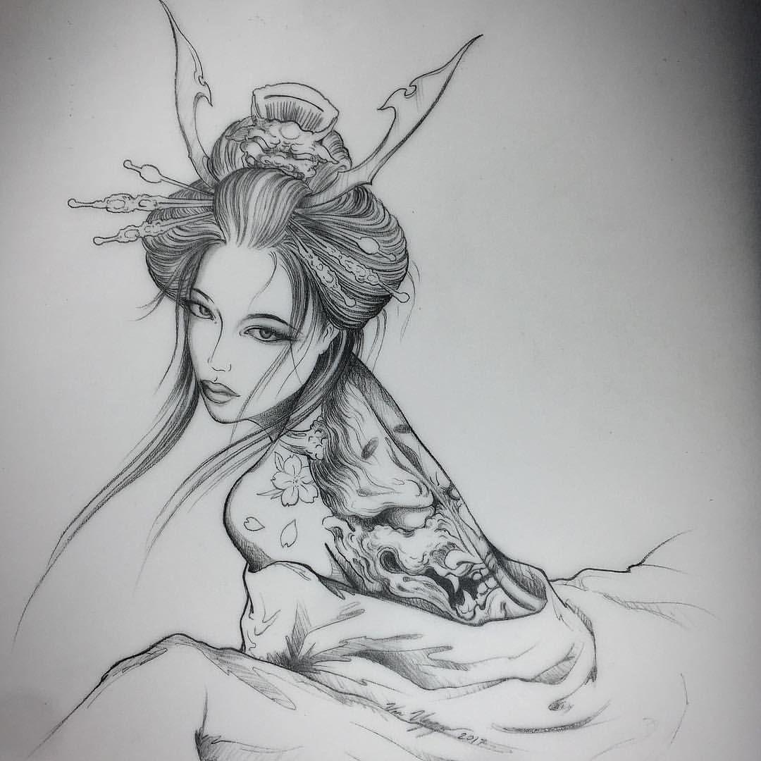 46++ Stunning Japanese geisha tattoo sketch image HD