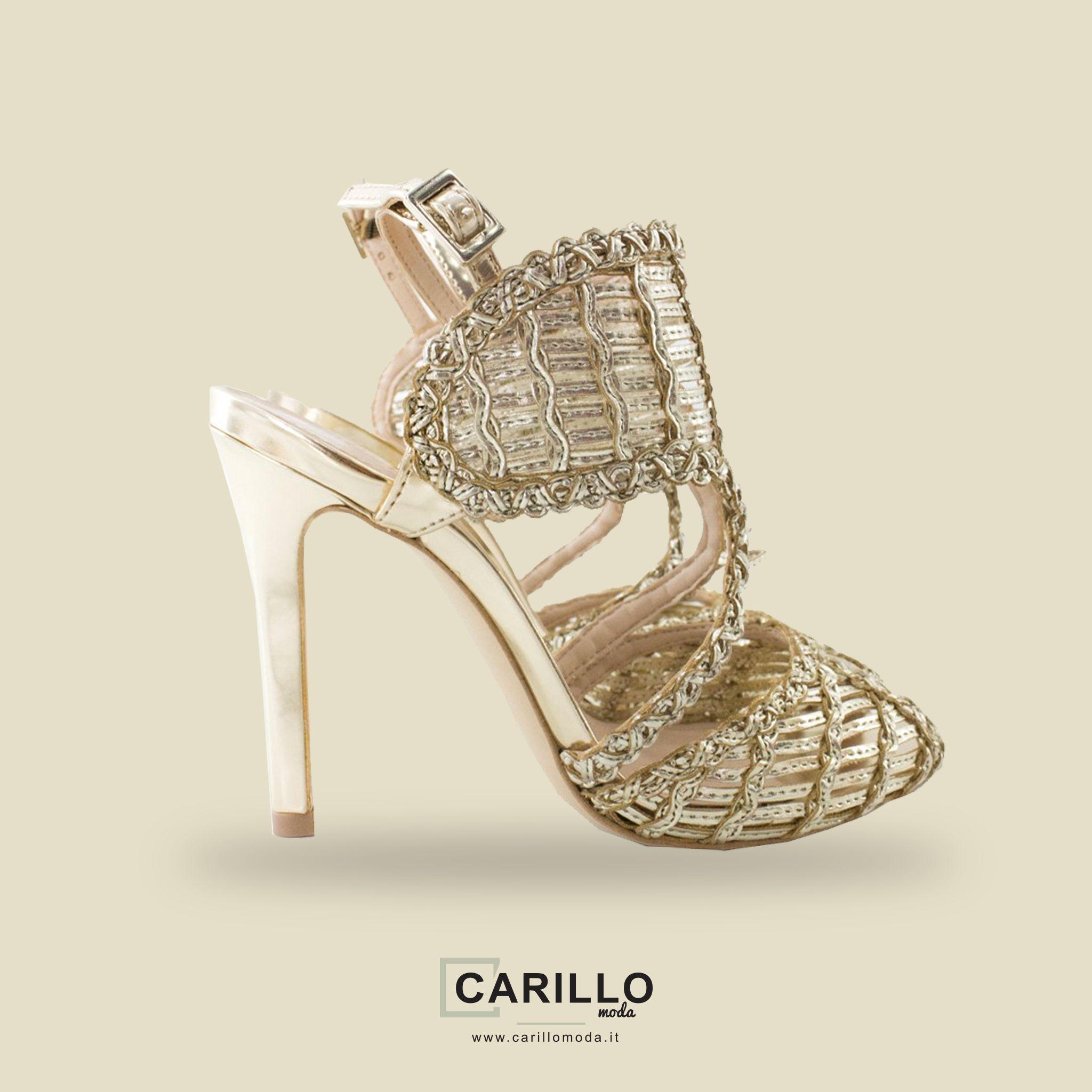 SANDALI DONNA ORO Sandali donna oro estivi intrecciati con tacco a spillo  altezza 10cm e chiusura 341fd7d0135