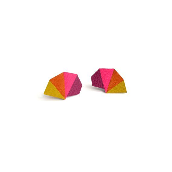e7b48c10496af Leather Stud Earrings Colorful Geometric Earring, Triangle Studs ...