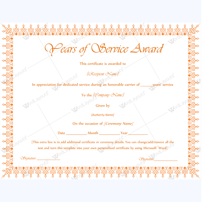 Service Awards, Award Template
