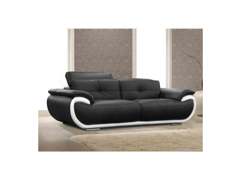 Canapé 3 places cuir SMILEY - Bicolore Noir et Blanc