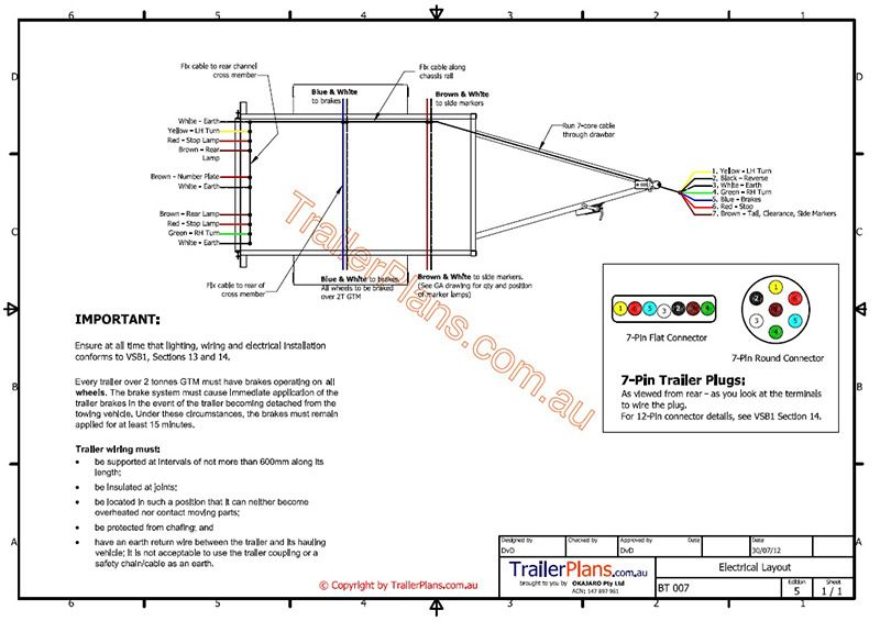 06a409b17f57ad1c8495a757b674a23b electrical trailer wiring trailer plans www trailerplans com au 7 Pin Trailer Wiring Diagram at soozxer.org