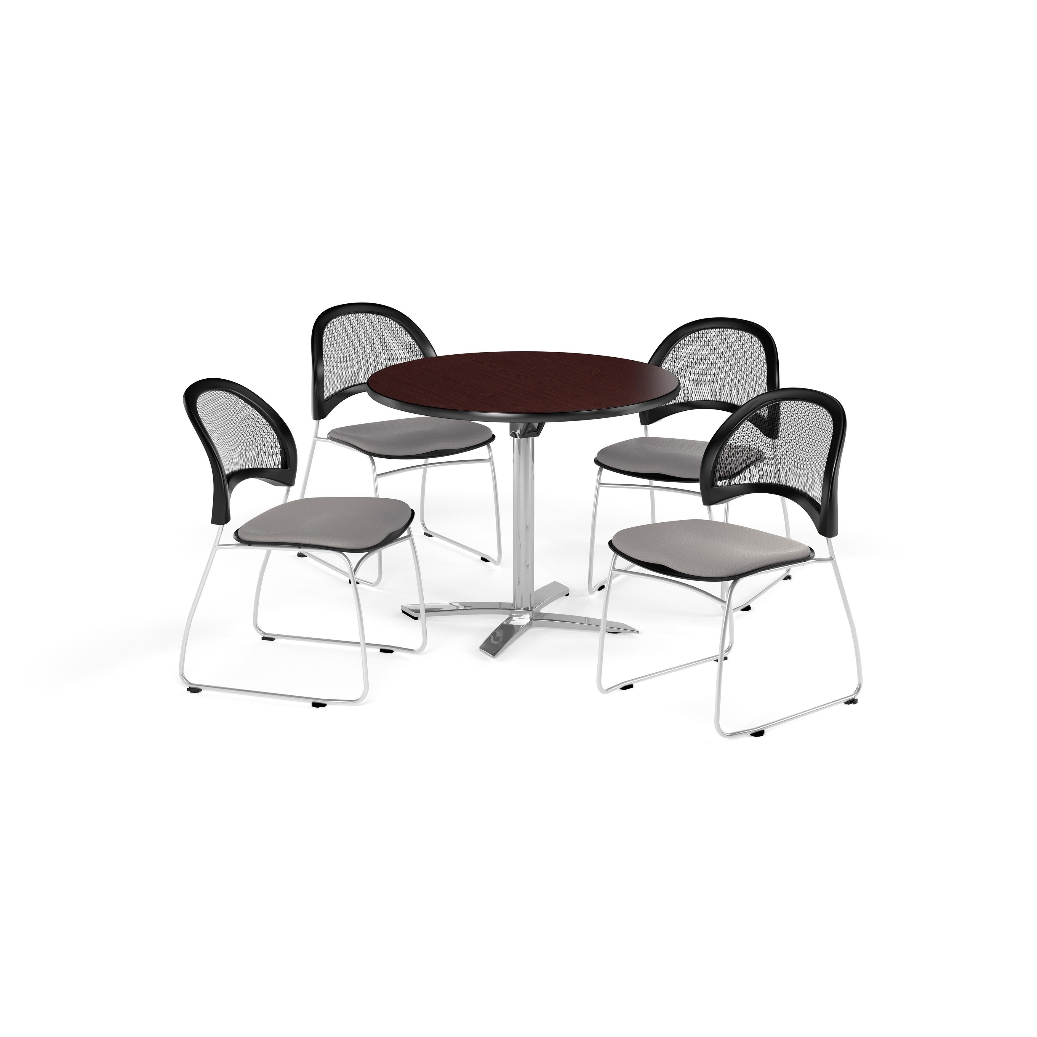 OFM Mahogany 42 inch Square Multi Purpose Table with 4 Moon Chairs