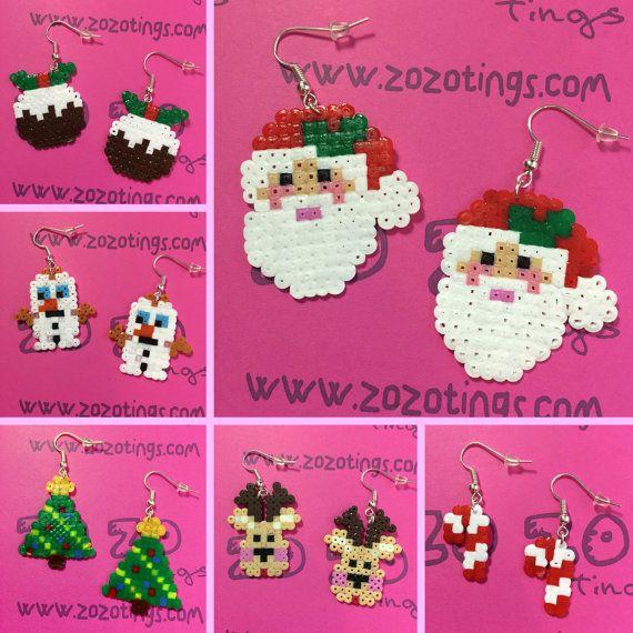 Christmas Earrings hama mini beads by ZoZoTings craft things