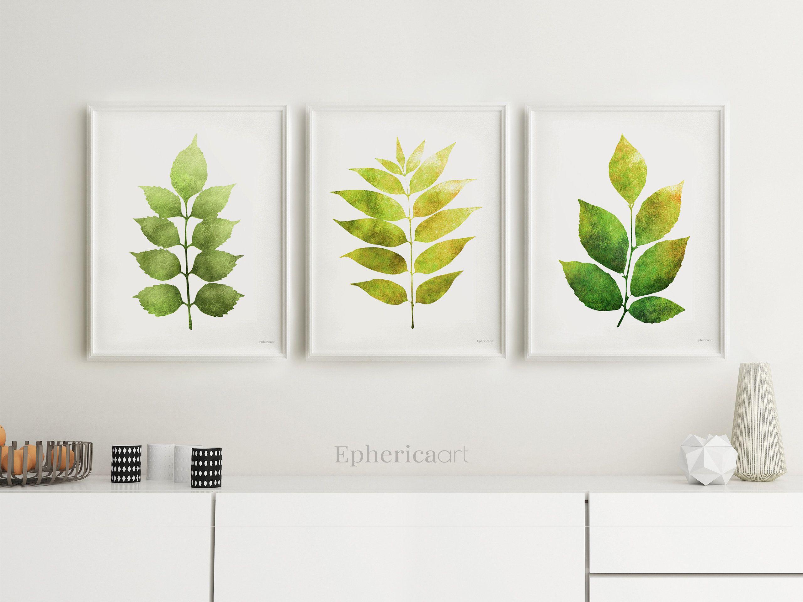 Leaves print set botanical prints kitchen wall art plants