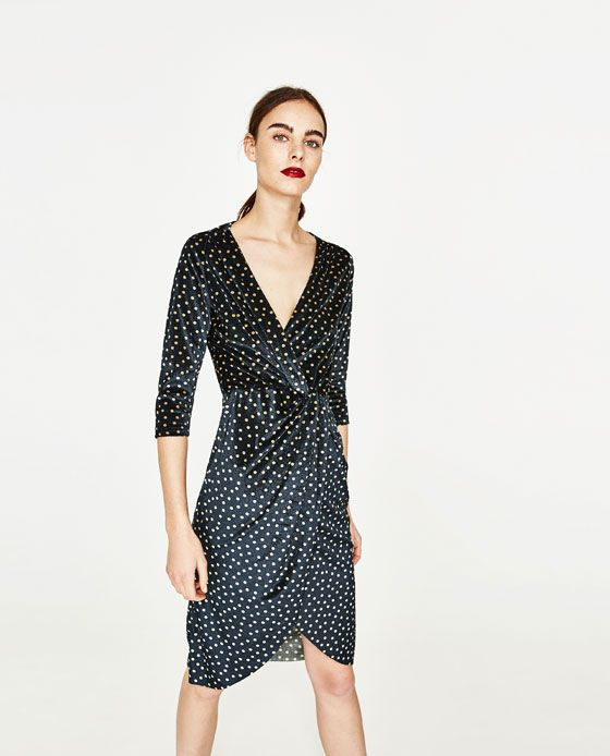 Image 5 of POLKA DOT DRESS WITH CROSSOVER NECKLINE from Zara