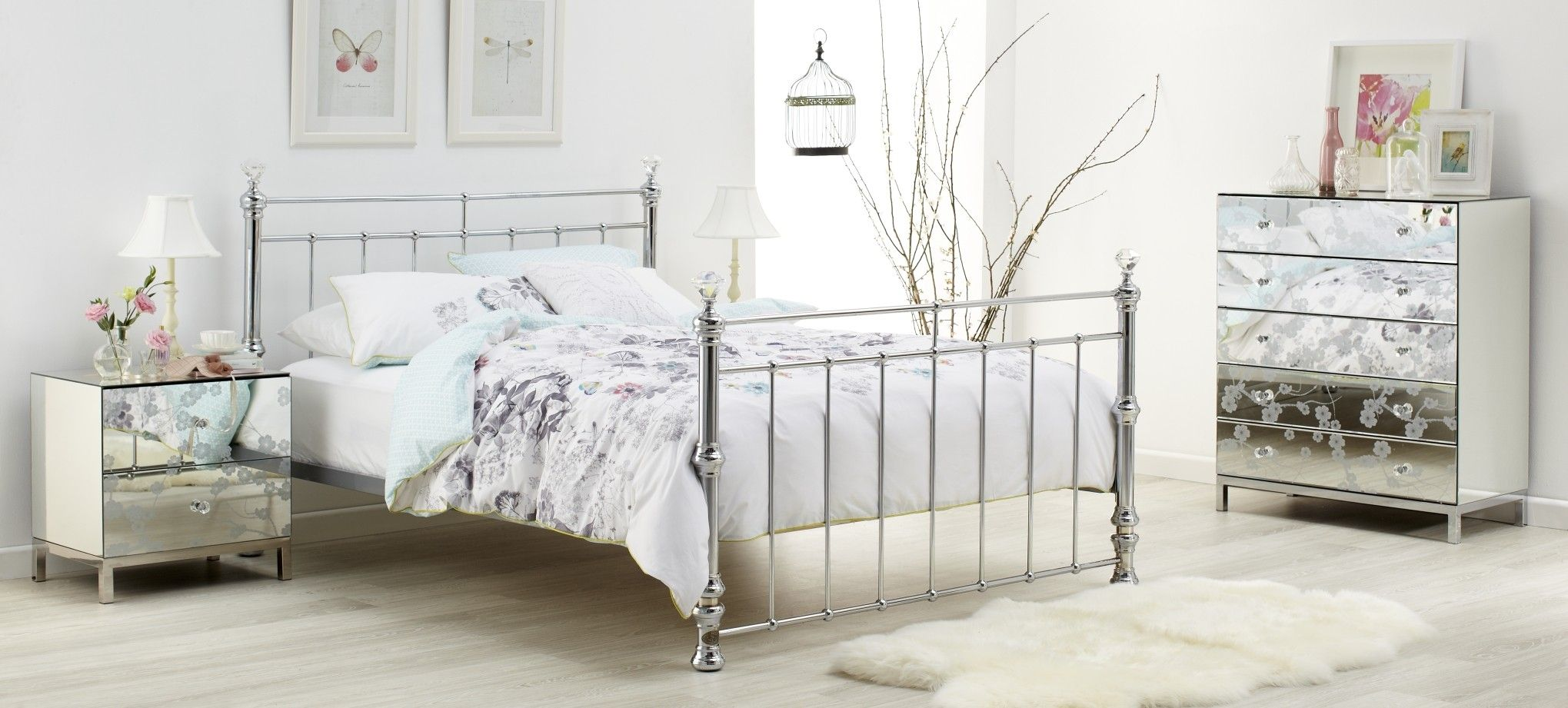 Crystal Bedroom Furniture This stylish chrome plated bed